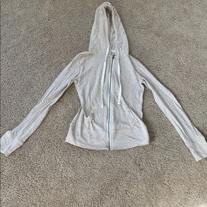 Cream zip up light sweatshirt with hood